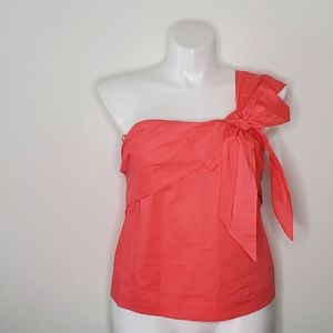 J. Crew Coral One-Shoulder Bow Top NWT